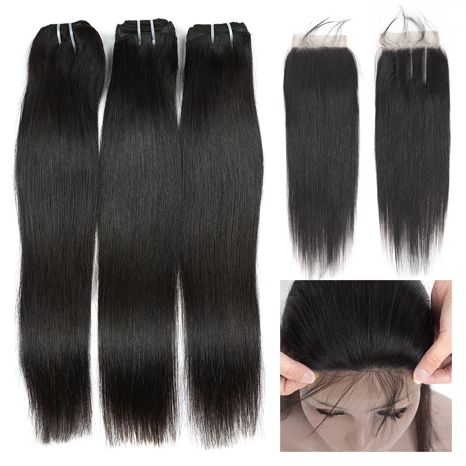 Queen like 3 / 4 Bundles Straight Hair Bundles With Closure Non Remy 100% Human Hair Weft Malaysian Hair Bundles With Closure