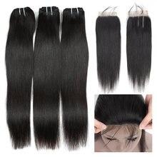 Queenlike 3 / 4 пряди прямых волос с закрытием не Реми 100%