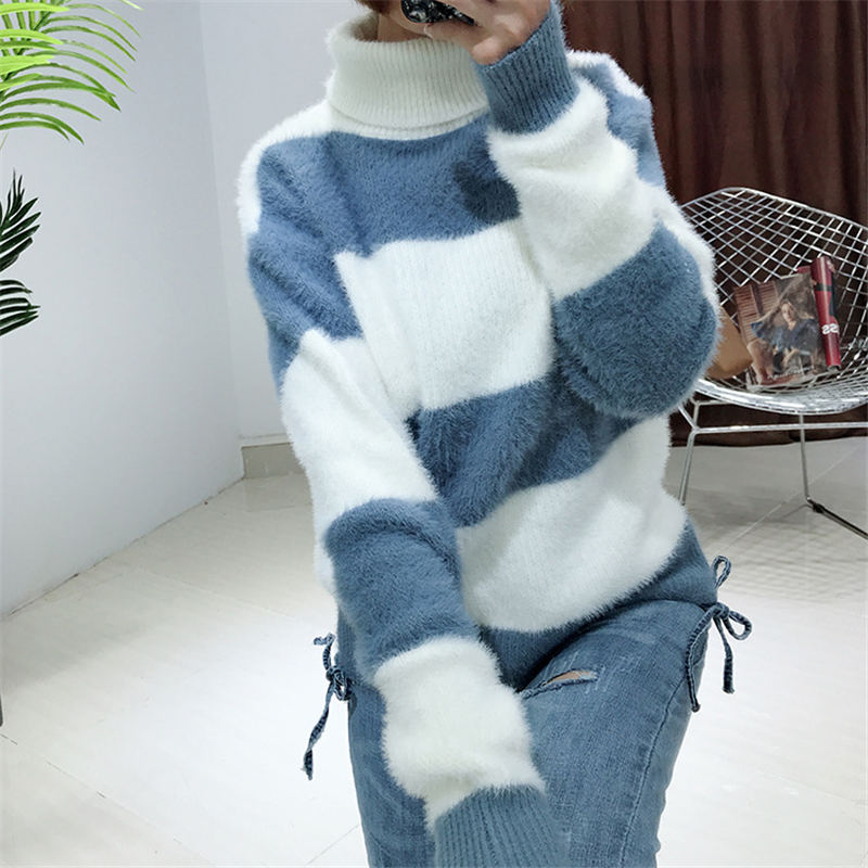 28d8486ecc6 LUOSHA Women Autumn Winter Warm Knitted Turtleneck Pullover Sweater Korean  Style Striped Patchwork Casual Top Female
