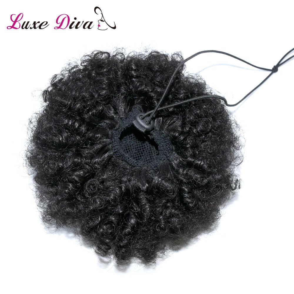 Роскошный DIVA Puff афро короткий кудрявый шиньон волос булочка шнурок конский хвост обертывание шиньон бразильские Remy человеческие волосы для наращивания