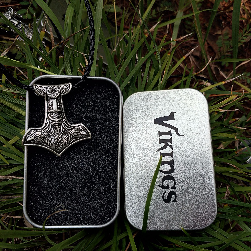 цена LANGHONG Nordic Odin Amulet pendant Necklace Norse Viking Odin's Hammer with Raven and Vegvisir Pendant Necklace Jewelry онлайн в 2017 году