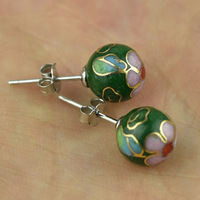 Multi style Authentic Cloisonne Bead Earrings Silver S925 Ear Nails Fashion Earrings Retro Ethnic Jewelry Gifts