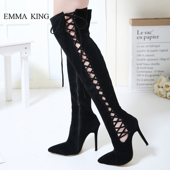 Sexy Women Suede Over the Knee Boots Hollow Out  Cross-tied Black Long Boots Fashion Zipper Pointed Toe High Heels Women Shoes