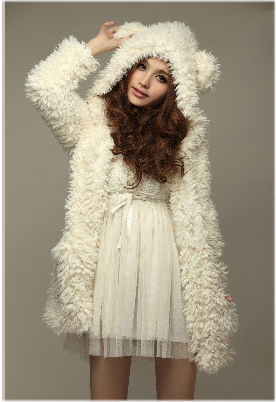3efc9f54d Nuevo 2017 otoño y el invierno teddy bear princesa oídos blanco colores  animal Sudaderas con orejas cute Sudaderas mujeres Abrigos envío libre
