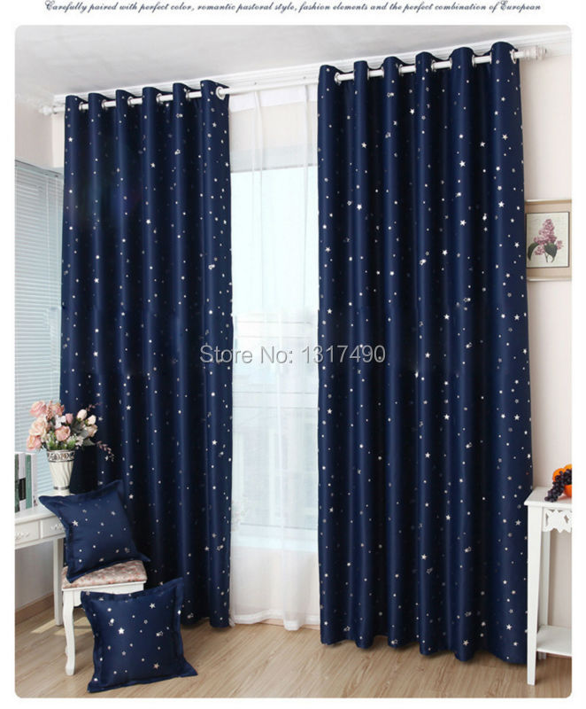 Free Shipping Quality Blackout Foil Silver Shade Stars Curtain