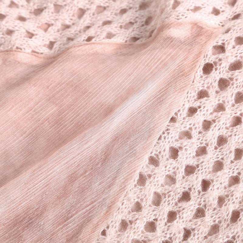 Nouveau O À De Longue Conception Femmes Évider Longues Robe Manches Patchwork Solide 2019 Cou Style Printemps Mode Tricoté 100 Soie w6Ap0f