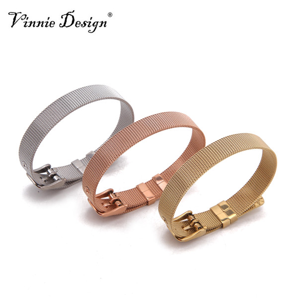 Vinnie Design Jewelry RVS Keeper Wrap Armbanden in Rose goud, zilver, goud netwerk armband voor Slide Charms 10pcs / lot