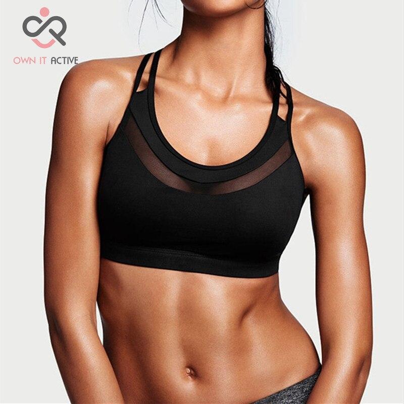 Hochfeste Frauen Sport-bh stoßdämpfende Rosa Lauf Bh Fitness Yoga Ausbildung Schwarz Unterwäsche P002