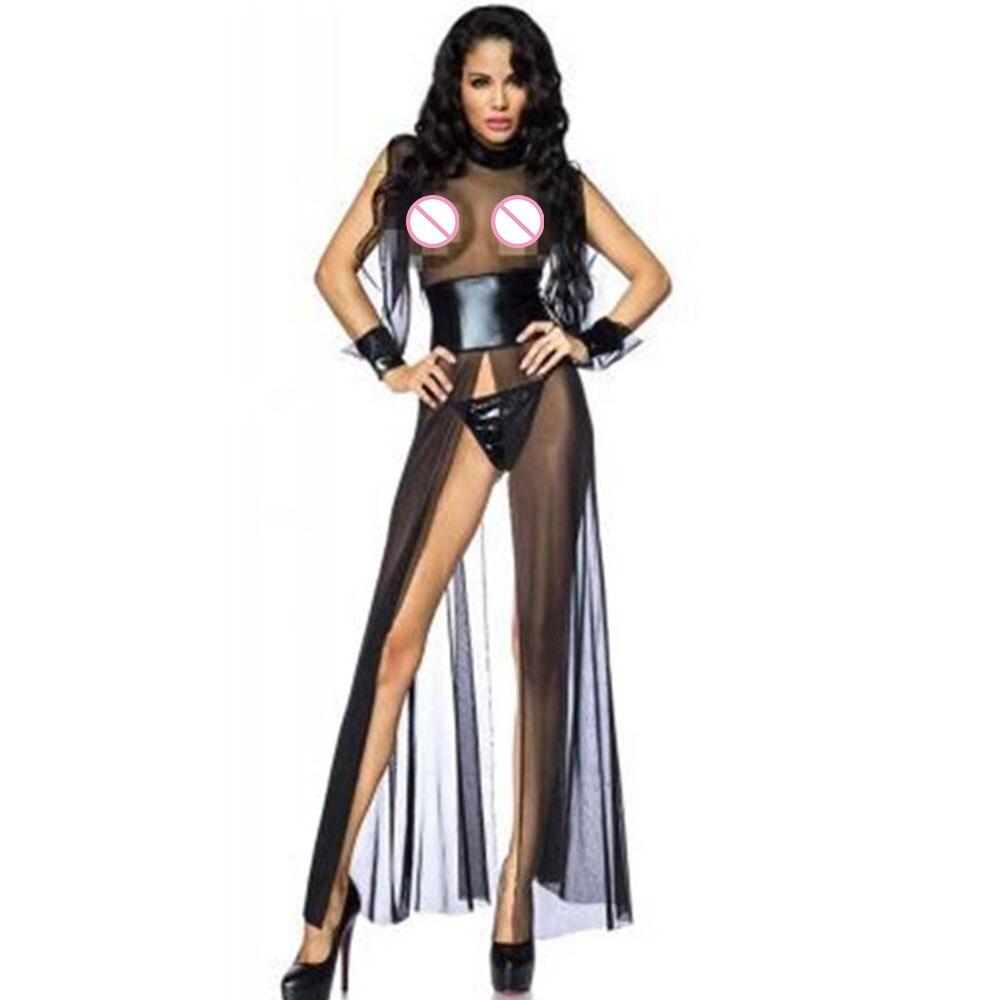 Black Transparent Women Underwear Sexy Erotic Mesh Lingerie Dress Lace Babydoll Dress Sexy Nightgowns Long Night Dress Sleepwear