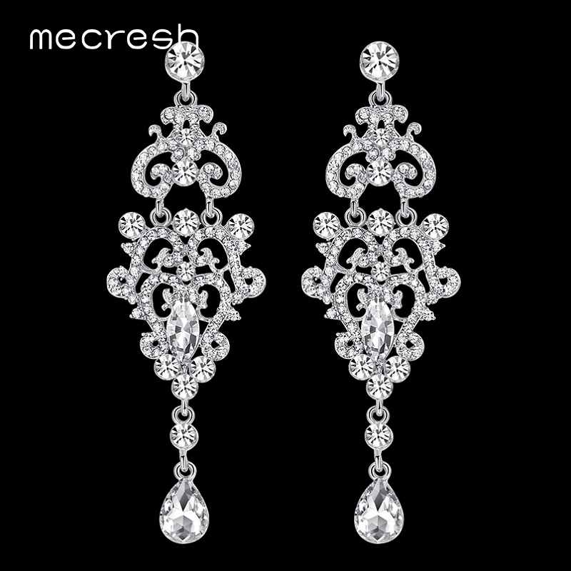 Mecresh Crystal Chandelier Long Auskarai sidabro spalvos Kalnų krištolas Big Hanging Dangle Auskarai Vestuvių Engagement Jewelry EH189