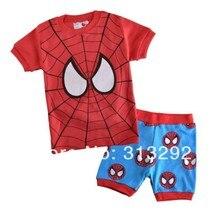XR-8, Spider Man, Baby/Children clothing set, 100% Cotton rib short sleeve T shirt + shorts sets for 2-7 year.