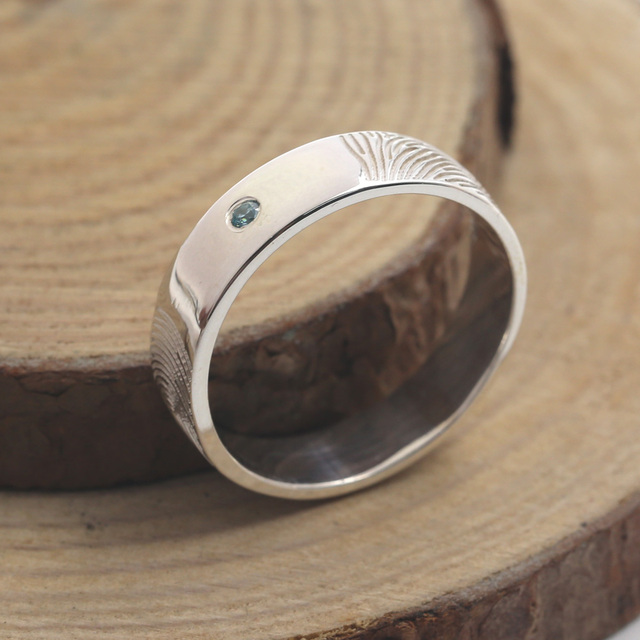 Wholesale 925 Solid Silver Fingerprint Ring 6mm Band Engraved Couple