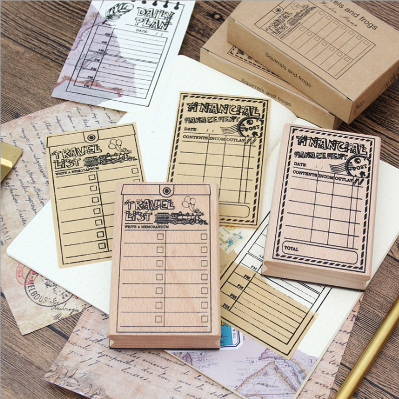 6pcs/lot retro plan template wooden stamp 6 designs blank paper diy tool multifunction stationery wholesale plan