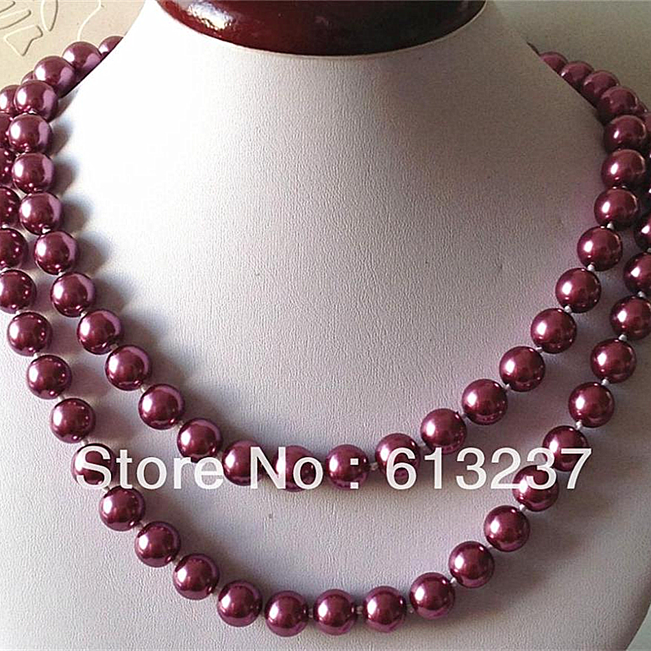Noble round beads 10mm beautiful fuchsia shell simulated-pearl diy round beads chains necklace long link jewelry 36inch MY4728