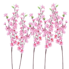 6pcs Peach Artificial Cherry Spring Plum Peach Blossom Branch Silk Flower Tree For Wedding Party Decors