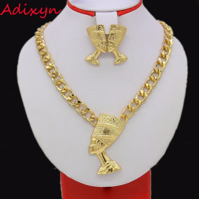 Adixyn Big Size Egyptian Queen Nefertiti Pendant Gold Color Thick Chain Earrings Jewelry Sets Africa Egypt Items 1