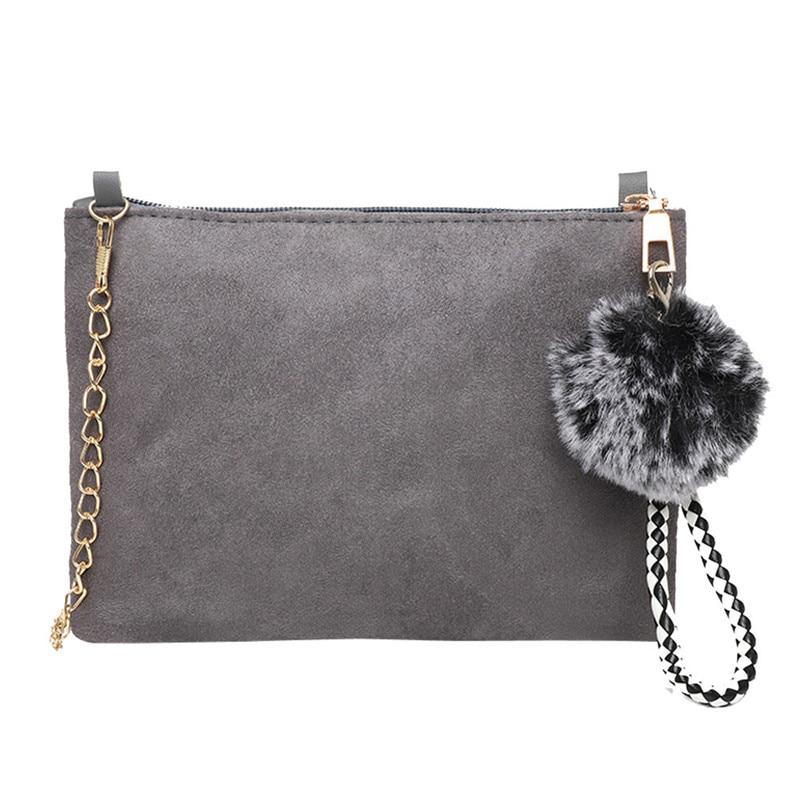 b0ec7aee90ae Women s Clutch Bag Simple Hairball Suede Shoulder Bags Enveloped Shaped  Small Messenger Shoulder Bags Big Sale Female Handbag 35