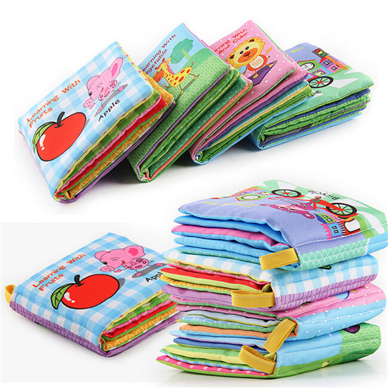 Cute Fruit Style Baby Toys Hot New Infant Kids Early Development Soft Cloth Books Learning Education Unfolding Activity Books