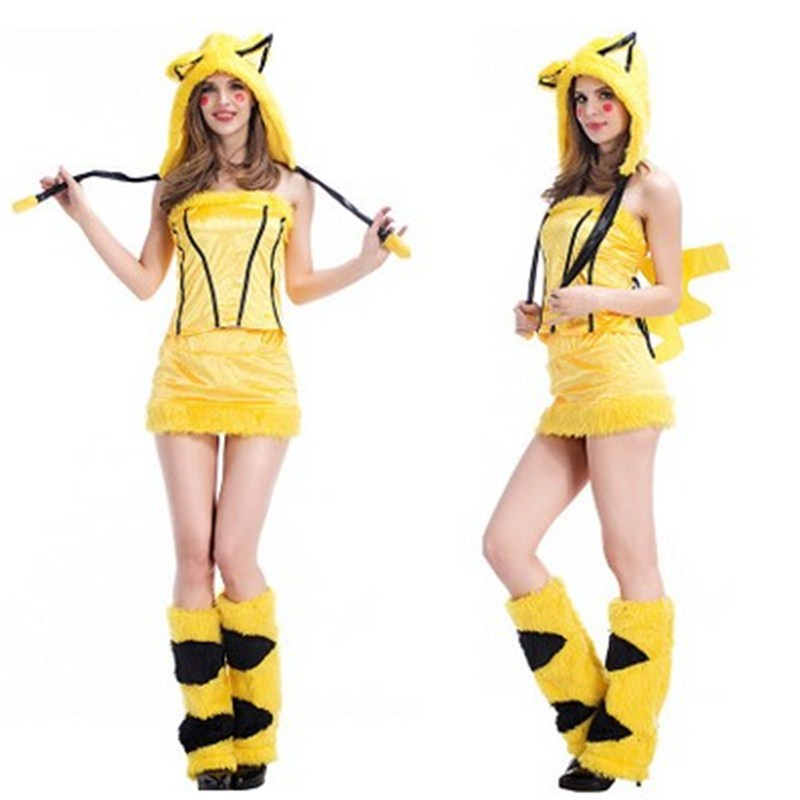 Sexy Women Bikachu Cosplays Halloween Catwoman Costumes Female adult Animal pajamas Role play Masquerade Nightclub Party dress