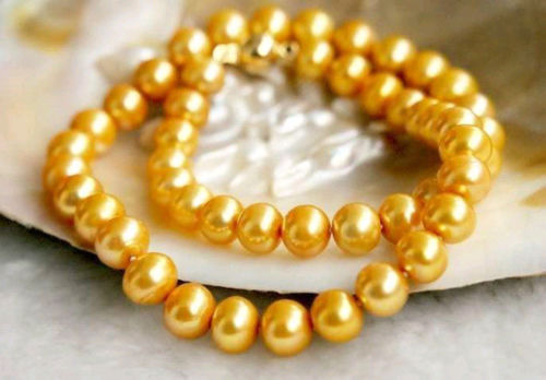 925silver Yellow Gold HOT 18 9-10MM REAL AUSTRALIAN SOUTH SEA GOLDEN PEARL NECKLACE925silver Yellow Gold HOT 18 9-10MM REAL AUSTRALIAN SOUTH SEA GOLDEN PEARL NECKLACE