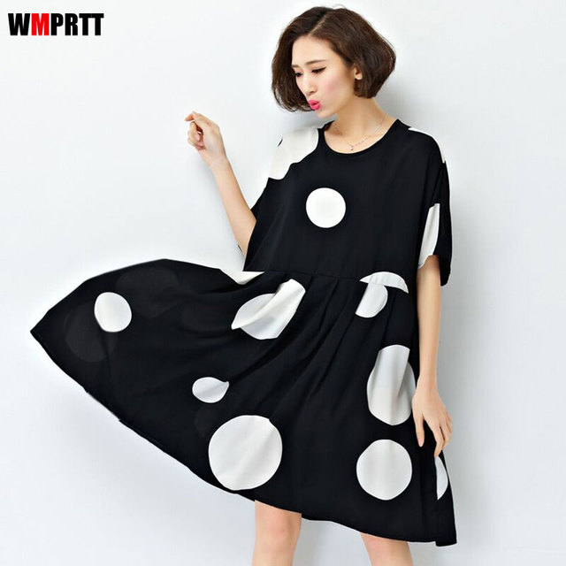 Plus Size Dress Cotton Loose Print Summer Womens Dress O Neck Dot