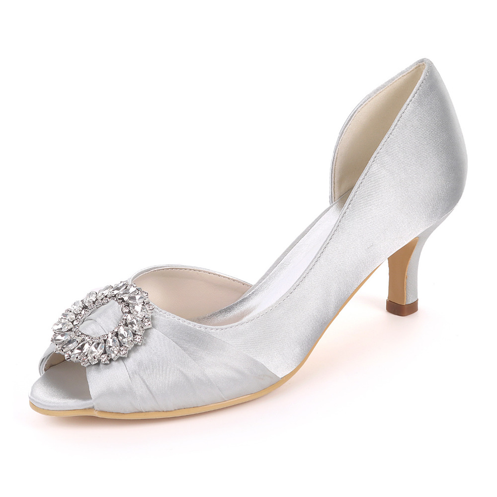 Creativesugar empty side elegant knot with crystal brooch 6cm heels lady satin evening dress shoes open toe bridal wedding shoes