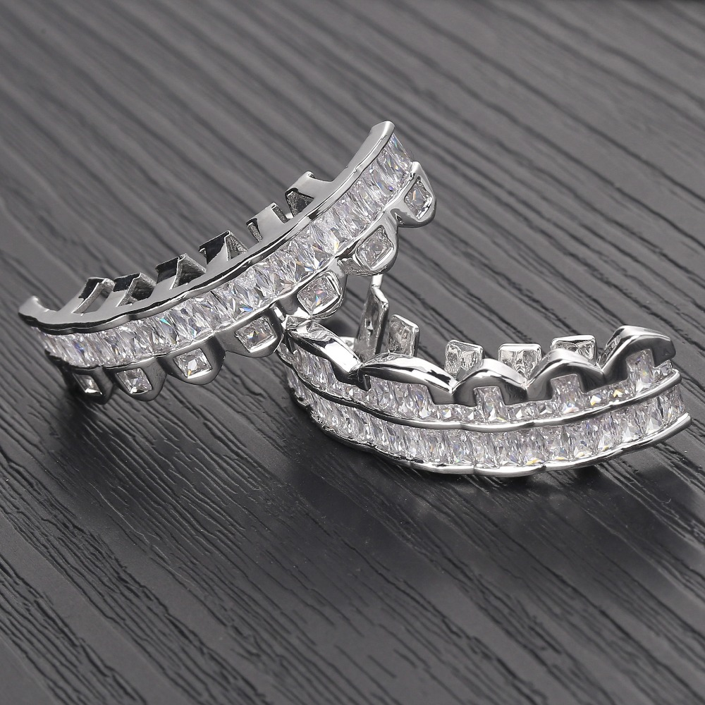 Image 3 - New Baguette Set Teeth Grillz Top & Bottom Silver Color Grills Dental Mouth Hip Hop Fashion Jewelry Rapper Jewelry GiftBody Jewelry   -