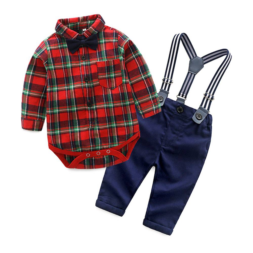 Infant Newborn Baby Boy Clothes Long Sleeve Gentleman Plaid Bodysuit+Suspender Pant 2Pcs Suit Boy Clothing Set Kids Clothes kids clothing set plaid shirt with grey vest gentleman baby clothes with bow and casual pants 3pcs set for newborn clothes