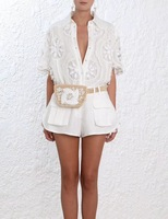 New Summer Women White Hollow Out Floral Embroidery Blouse Tops And Short Wide Leg Shots Sets