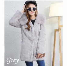 970f80f8d9012 2018 New Real Fur Coat Female Whole Skin Rabbit Fur long Fox Fur Collar  Hooded Warm