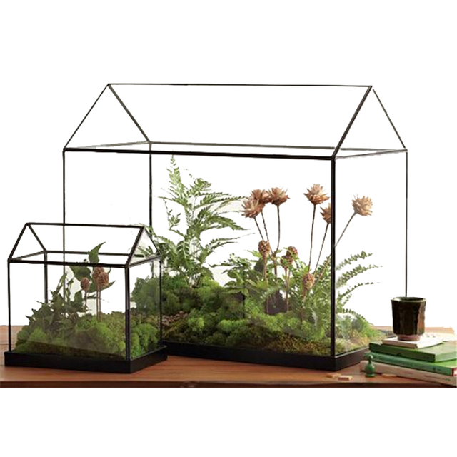 Rectangle Table Dodecahedron Glass Terrariums Soldered Glass Planter