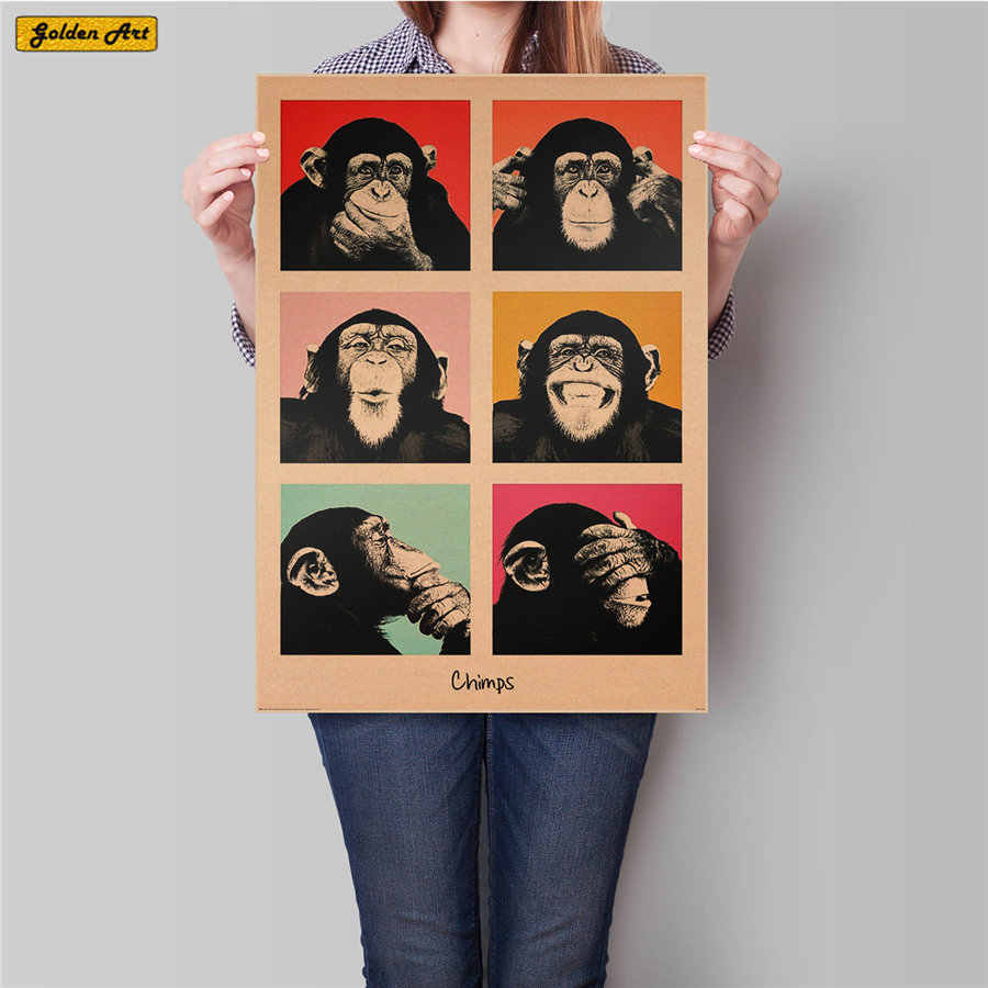 Vintage Kraft Paper Poster Gorilla expression Retro Bar Cafe Living Room Decor Wall Art Crafts Sticker  45.5x31.5cm