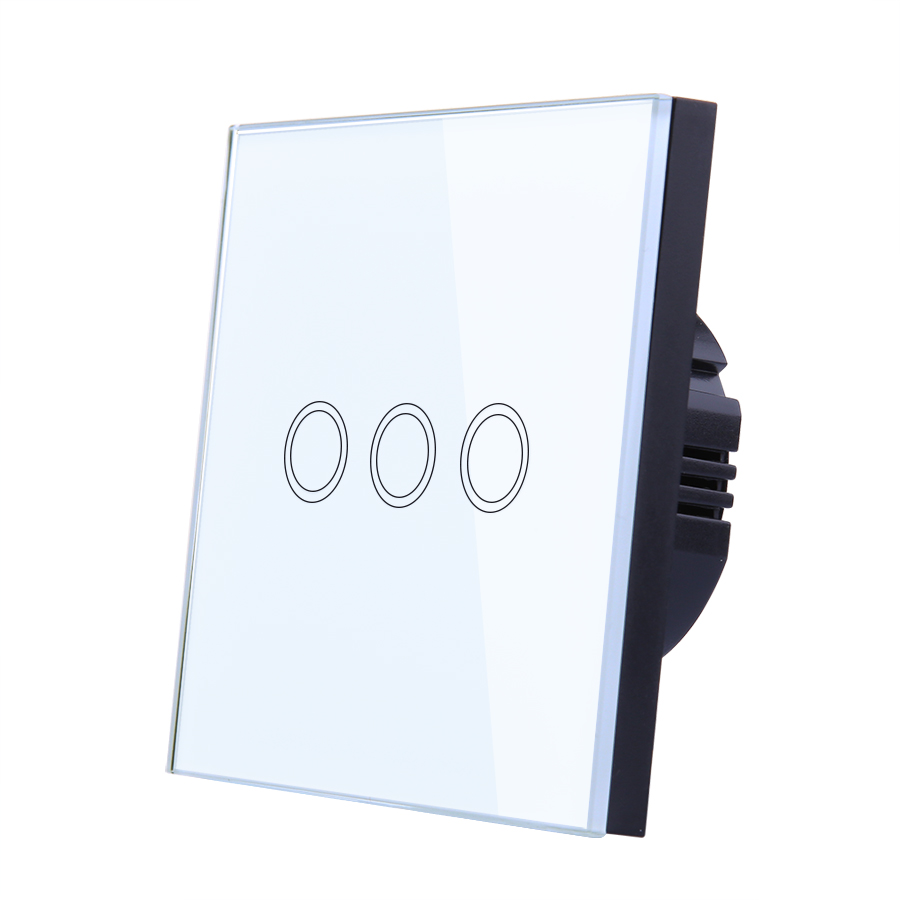 Vhome EU/UK Standrad wireless white 3gang 1way  Glass Penal Touch Wall Light switch 220V5A  433mhz Remote control function black color 2gang touch light switch with wireless remote control rf 433mhz glass panel smart wall touch switch uk type