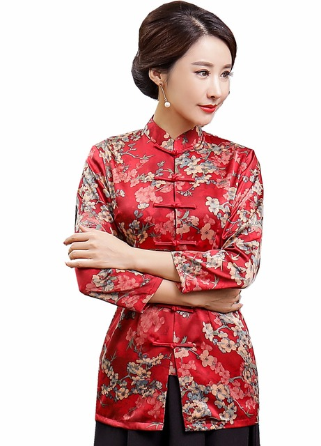 a5f9330c49c Shanghai Story Floral Cheongsam Shirt Qipao Top 3 4 Sleeve Chinese  Traditional Top Chinese Blouse For Women