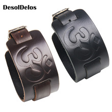 Cowboy Style Bracelet Black brown Strap Wide Wrap Leather Buckle Wristband Men Cuff Bracelets Punk Jewelry For Women