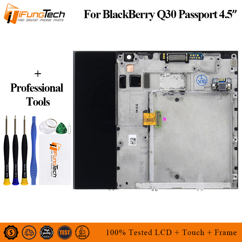 100% Tested Black For Blackberry Q30 Passport LCD Display Digitizer Touch Screen Monitor Assembly Replacement Parts+Repair Tools