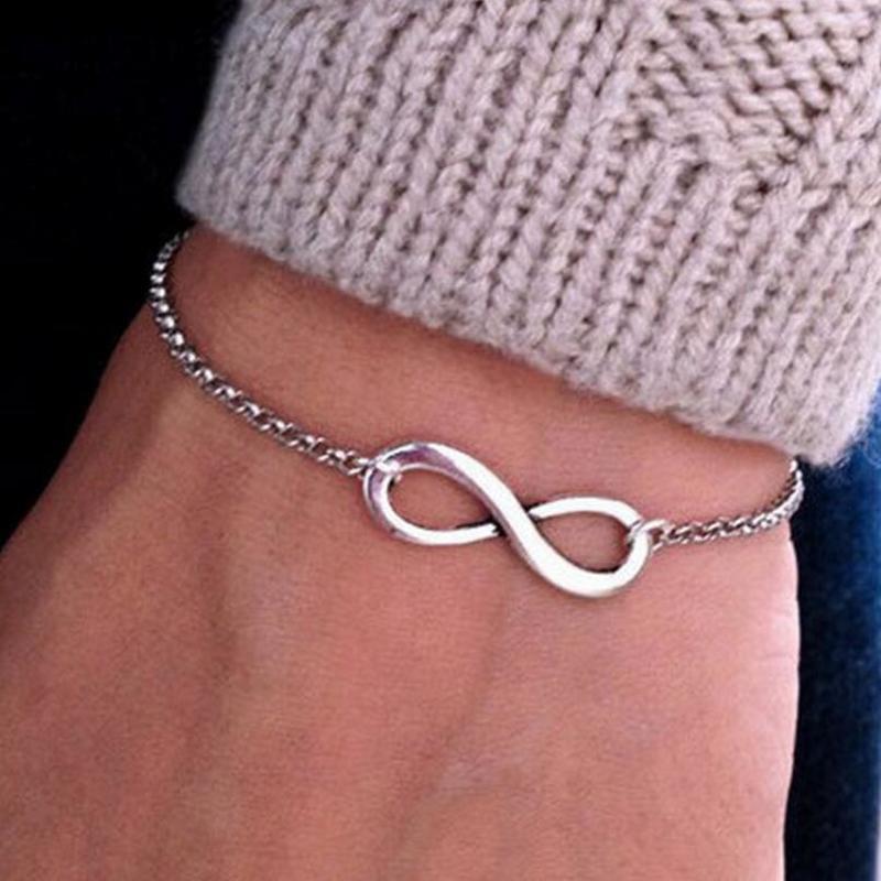 Lucky Number 8 Pendant Bracelets for Women Single Chain Statement Silver Bracelet Femme Friendship Jewelry pulseira masculina