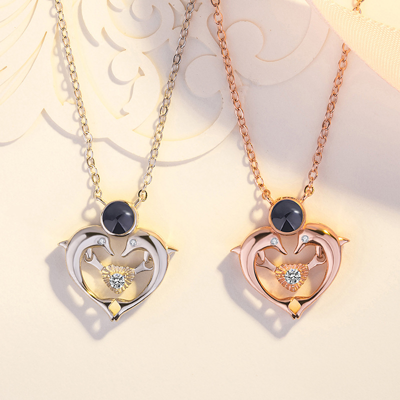 New Rose Gold Silver Double Dolphin Memory Wedding Necklace 100 languages I love you Projection Pendant Necklace Drop Shipping