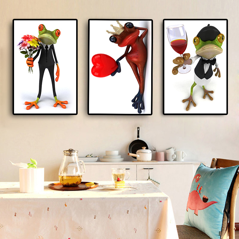 Romantic Frog Posters and Prints Animal Canvas Painting Scandinavian Modern Minimalist Nordic Art for Baby Kids Room Home Decor