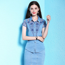 Nordic winds summer blouse new lace stitching short-sleeved shirt womens large size thin denim blouses NW18B2609
