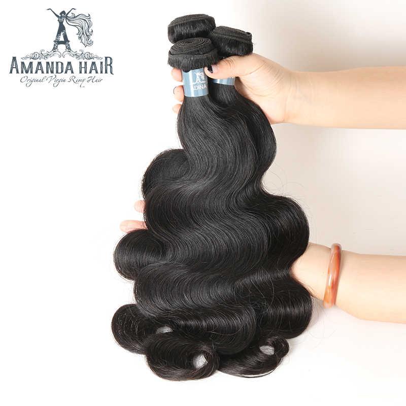 Brasileño de la onda del cuerpo paquetes de ofertas de 100% cabello humano virgen sin procesar de la onda del cuerpo brasileño de la armadura del pelo paquetes 1 piezas para salón pelo