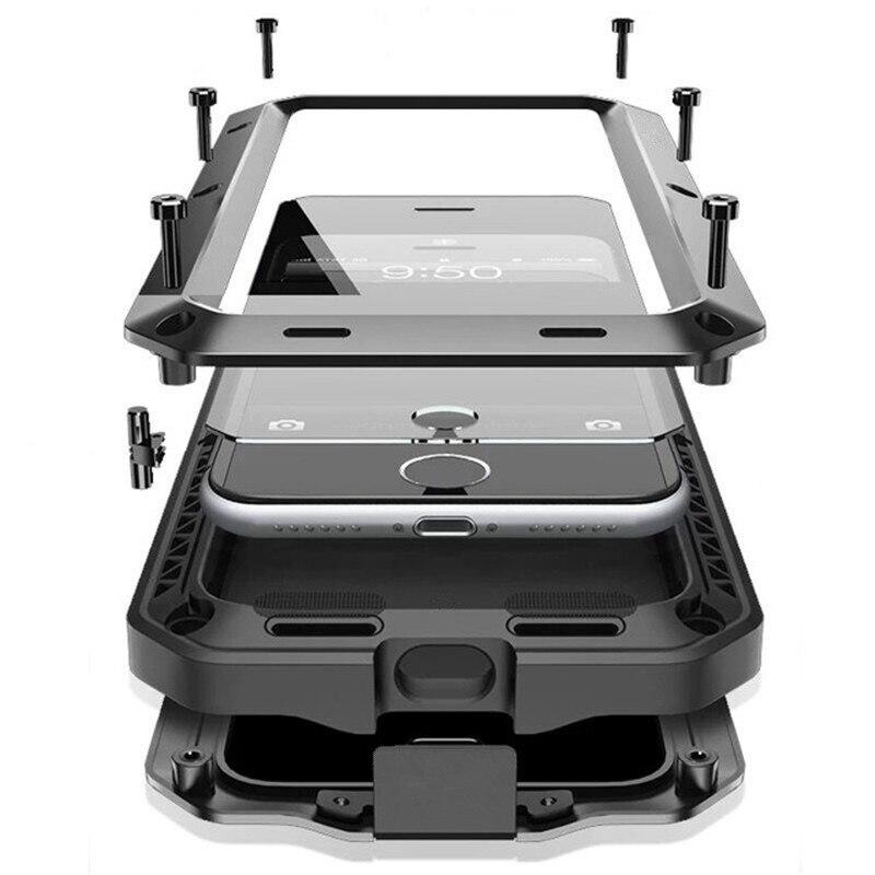 R-JUST De Luxe Doom Armure Duty Choc vie-imperméable à l'eau En Métal En Aluminium Cas de Téléphone Pour iphone 8X7 SE 4 4S 5 5C 5S 6 6 S Plus En Verre