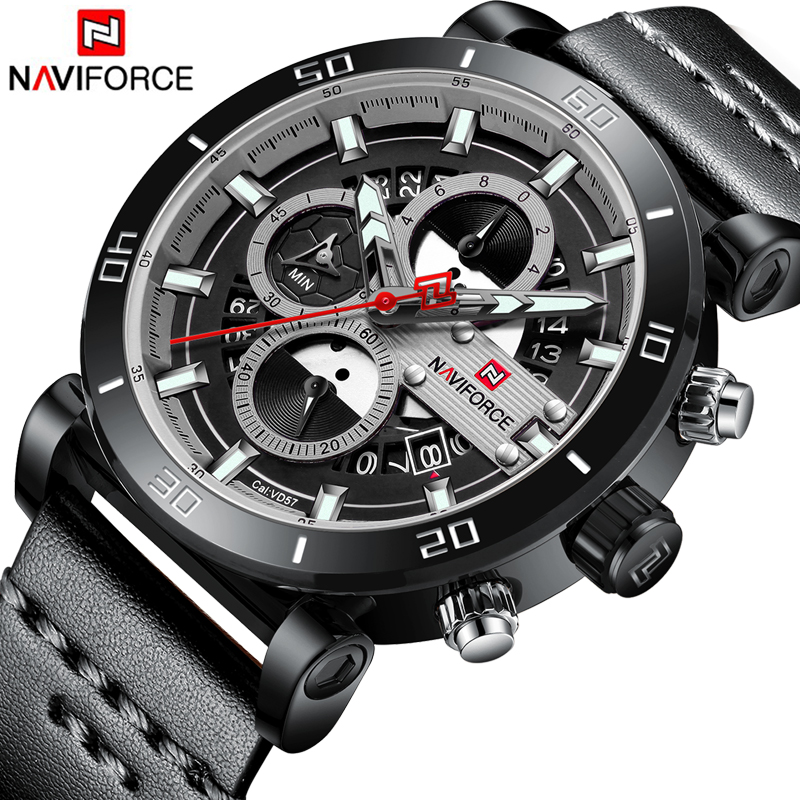 Top Luxury Brand NAVIFORCE 2018 New Men Leisure Quartz Watch Men fashion Waterproof Leather Sport Wristwatch