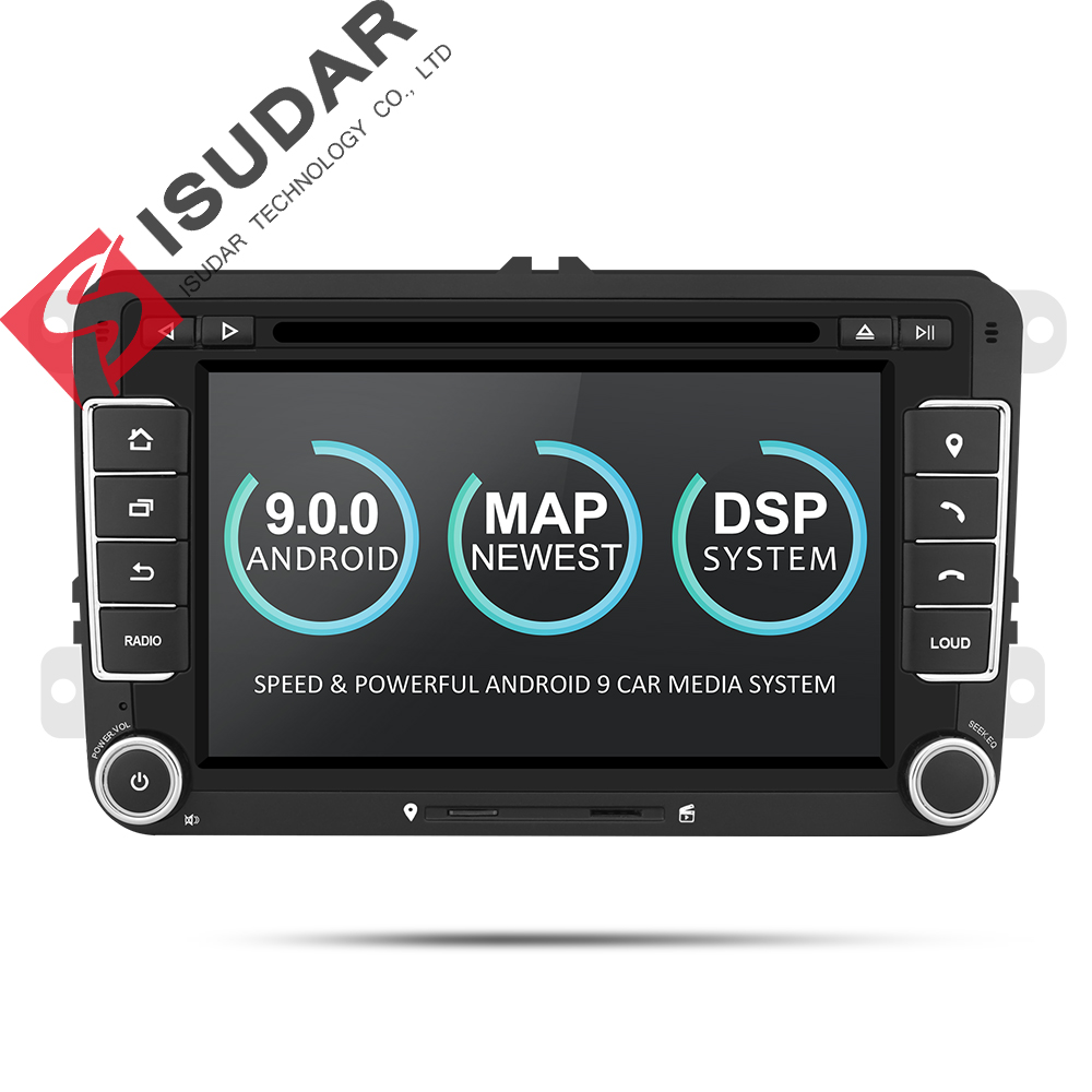 2 9 Isudar Reprodutor multimídia Carro Android GPS Din Para VW/Golf/Tiguan/Skoda/Fabia/ rapid/Seat/Leon Canbus DVD Automotivo Rádio DSP