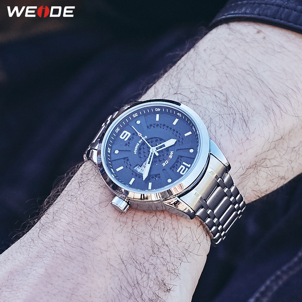 WEIDE Men's Sports Solar Energy Movement Date Calendar Steel Strap Quartz Wrist Watches Military Clock Erkek Saat Dropshipping