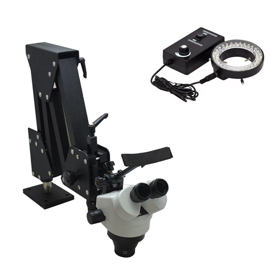 7X-45X Stéréo Microscope Dur En Aluminium Stand Stéréo Microscope Bijoux Et Dentaire Microscope Pour Bijoux Équipement Outils