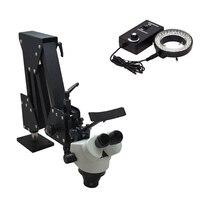 7X 45X Stereo Microscope Hard Aluminum Stand Stereo Microscope Jewelry And Dental Microscope For Jewelry Equipment Tools
