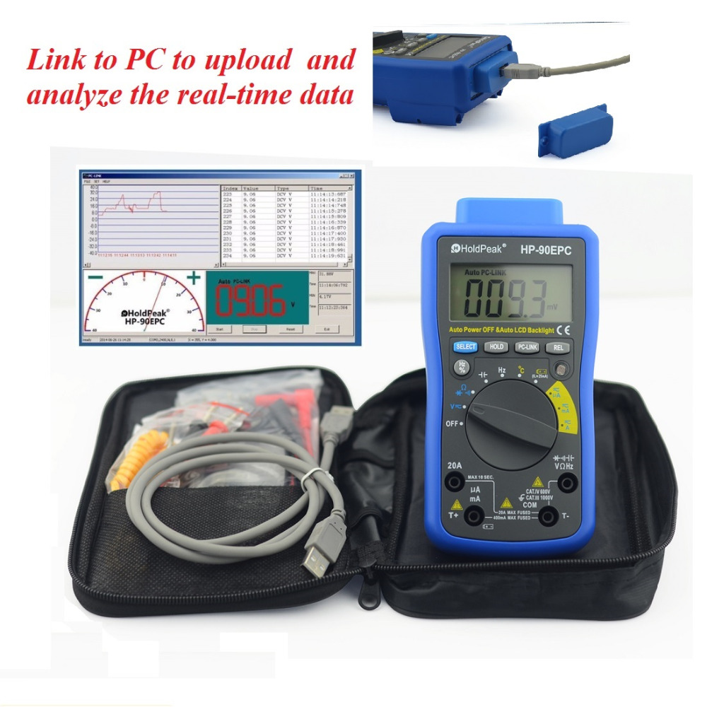 Multimetro Digital HoldPeak HP-90EPC Auto Range Digital Multimeter Meter with USB/ Software CD and Data Output Function hp 90b hp90b auto range digital multimeter digital avo meter