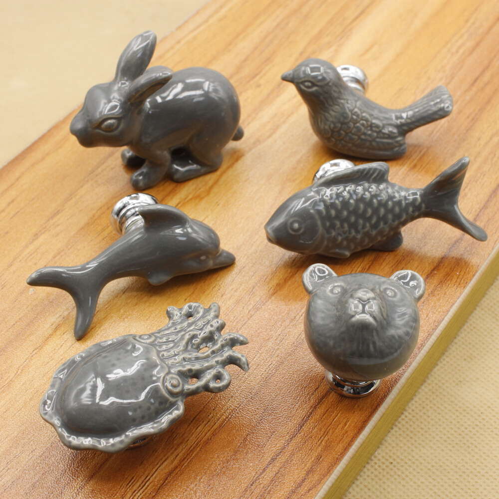 Cute Cartoon porcelain drawer Knobs and Handles For Kid Rooms Cabinet Door Knob Cupboard Drawer Wardrobe Pull in Grey Color free shipping magnetize for screwdriver plus porcelain degaussing degaussing minus porcelain disassemble charge sheet
