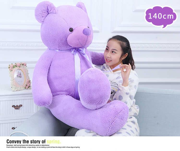Chegada nova adorável roxo teddy bear boneca de pelúcia grande 140 cm urso macio throw pillow presente de aniversário brinquedo h2819